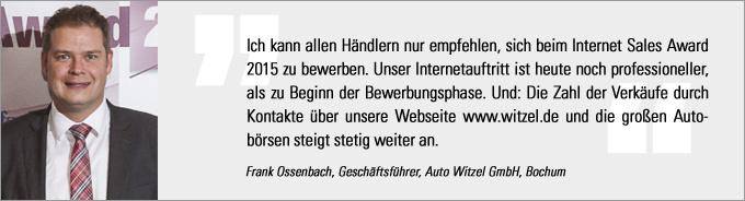 Frank Ossenbach, Internet Sales Award, kfz-betrieb