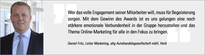 Daniel Fritz, Internet Sales Award