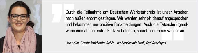 Lisa Adler, Deutscher Werkstattpreis