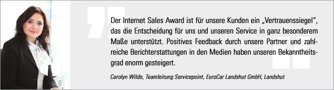 Carolyn Wilde, Internet Sales Award