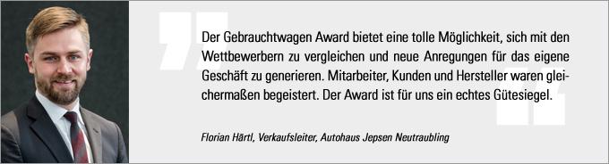 Statement Florian Härtl, Gebrauchtwagen Award