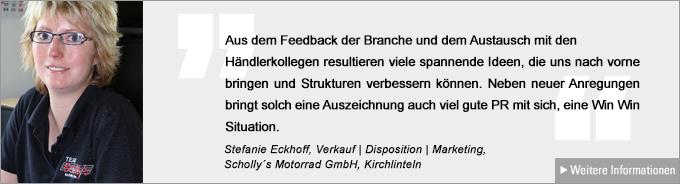 Statement Stefanie Eckhoff, Motorradhändler des Jahres