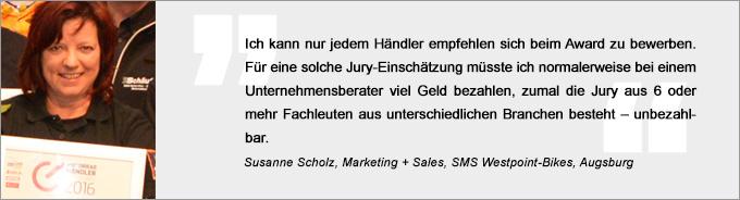 Statement Susanne Scholz, Motorradhändler des Jahres