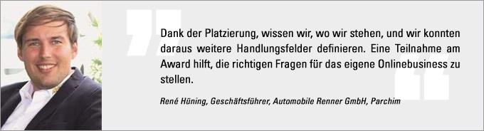 René Hüning, Internet Sales Award