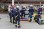 Vorbereitung für die Rettungsübung im BLG-Hochregallager.