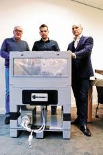 The JM Separations team — John van der Veeken, left, Tom van der Veeken, middle, and Mark van Trier, right — are filling a niche in the batch-mixing world with the Quattro Mix Single-Use Mixing System.