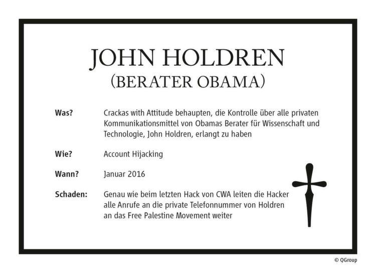 Die Crackas with Attitude (CwA) behaupten, die Kontrolle über alle privaten Kommunikationsmittel von Obamas Technologieberater John