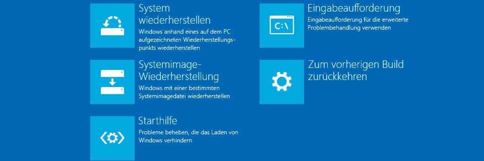 Wenn Windows 8 oder Windows 10 nicht mehr korrekt starten, stehen vor einer Neuinstallation einige Fehlerkorrekturmöglichkeiten zur Verfügung.
