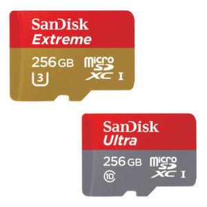Schnelle microSD-Karten mit 256 GB Kapazität
