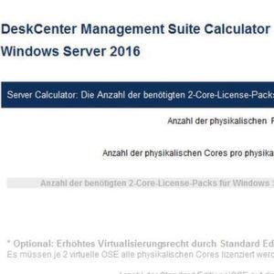 Lizenzkalkulator für Microsoft Windows Server 2016