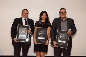Die Gewinner des Storage-Insider Readers' Choice Award 2016 in der Kategorie Backup / Disaster Recovery: von links nach rechts: Andreas Mayer, Gaby Schauer und Hakan Kaya