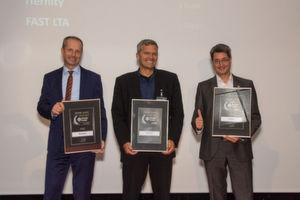 Die Gewinner des Storage-Insider Readers' Choice Award 2016 in der Kategorie Archivierung: von links nach rechts: Michael Jordan, Reiner Bielmeier und Georg Csajkas