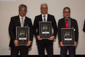 Die Gewinner des Storage-Insider Readers' Choice Award 2016 in der Kategorie Software-Defined Storage: von links nach rechts: Guido Klenner, Stefan von Dreusche und Stefan Hirsch