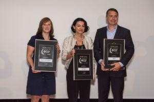 Die Gewinner des Storage-Insider Readers' Choice Award 2016 in der Kategorie High-End-Speichersysteme: von links nach rechts: Katrin Pfitzer, Diana Coso und Alexander Tlust