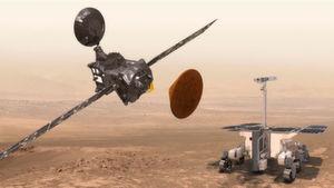 Akteure der Exomars-Mission: Der Trace Gas Orbiter (links), das nun abgestürzte Schiaparelli-Testmodul (Mitte) und der für 2020 geplante Mars-Rover (rechts).