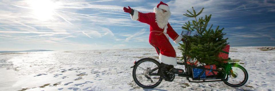 Weihnachtsbaumtransport funktioniert auch per Rad. Für Vielbeschäftigte, die nicht selbst in die Pedale treten wollen oder können, gibt es sogar einen Fahrrad-Bringservice für Fichte und Tanne.