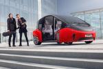 Der selbstfahrende Oasis ist ein zweisitziges Gefährt für Stadt und Land. Große Glasflächen, verkleidete Vorderräder und viele technische und optische Highlights sollen ihn auszeichnen.