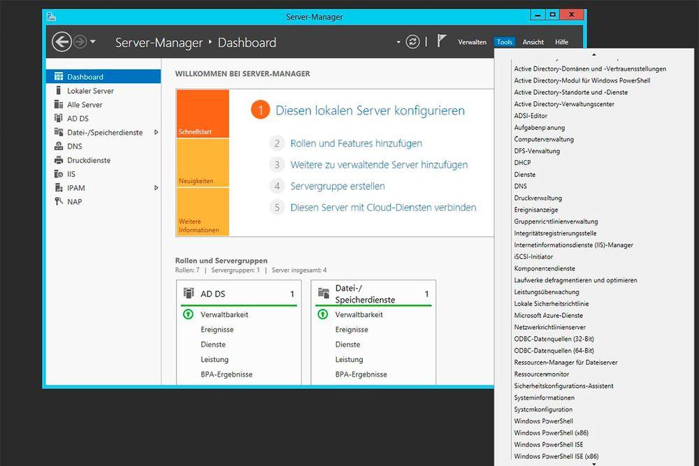 Moderne Server wie der Windows Server 2012 R2 bieten schon in der Standardversion nützliche Management-Funktionen für