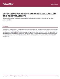 Optimizing Microsoft Exchange Availability and Recoverability