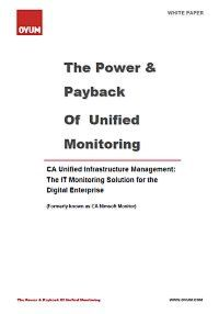 The Power & Payback of Unified Monitoring