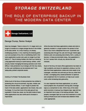The Role of Enterpreise Backup in the Modern Data Center
