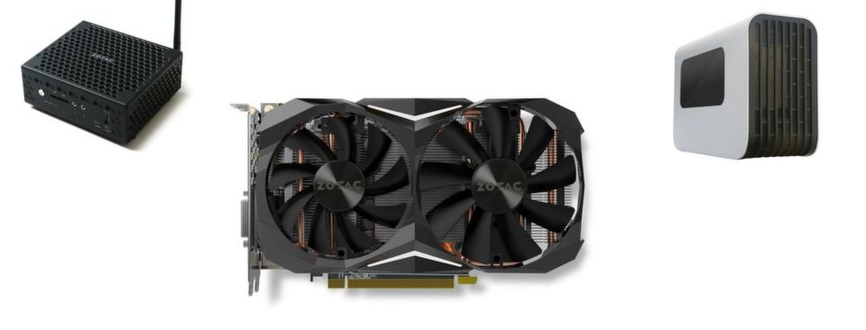 Zotacs CES-Neuheiten: Mini-PC mit Kaby-Lake und Thunderbolt 3, Geforce GTX 1080 und eine externe Grafikkartenbox mit Thunderbolt-3-Anschluss.