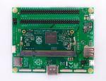 Compute Development Kit: Compute-Module-IO-Board V3 (CMIO3) und aufgestecktes SODIMM CM3 - das neue System basiert auf dem Quadcore Broadcom BCM2837 und 1 GB MB DDR2-RAM.