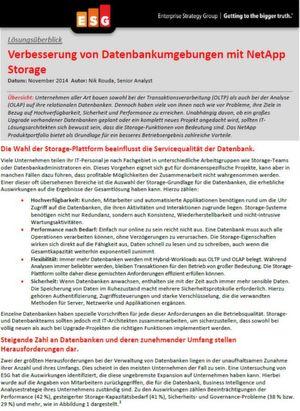 Verbesserung von Datenbankumgebungen mit NetApp Storage