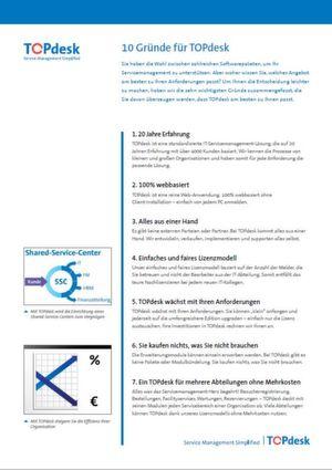 10 Gründe für TOPdesk