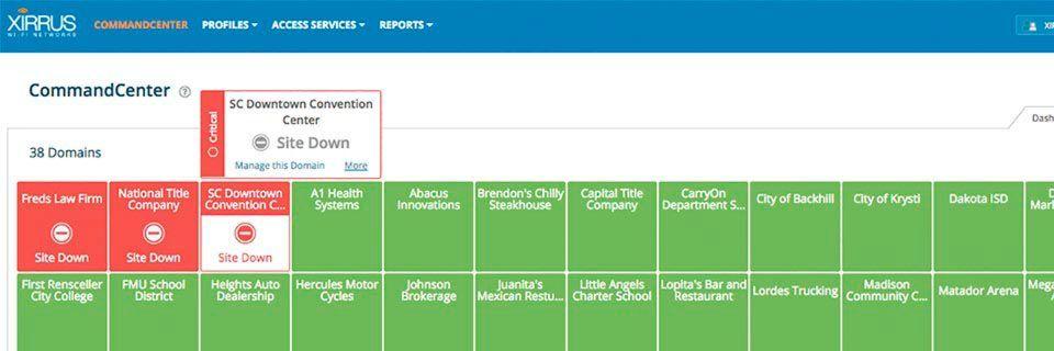 Mit dem Dashboard im Xirrus CommandCenter können MSPs Kunden überwachen, Probleme erkennen und Schritte zur Fehlerbehebung einleiten.