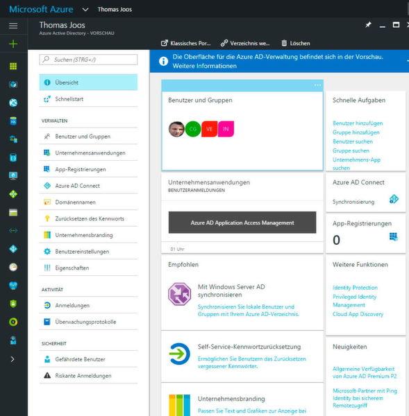 Azure Active Directory wird im neuen Webportal von Microsoft Azure verwaltet. Hier stehen alle notwendigen Optionen