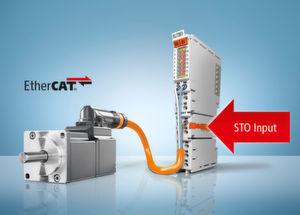 Les nouvelles servobornes EL72x1-9014 avec STO (Safe Torque Off) permettent de réaliser des solutions d'entraînement extrêmement compactes et sure.