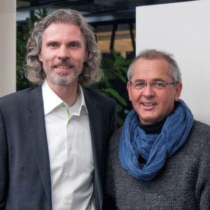 Freuen sich über die passgenaue Lagerlösung, die im Mai 2017 in Betrieb gehen soll (v.l.): Holger Landmann (Witt-Gasetechnik) und Dobülog-Mitinhaber Andreas Bücker.