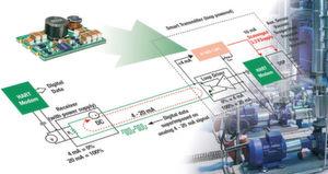 Versorgt Mikroprozessoren und andere digitalen Komponenten aus der 4-bis-20-mA-Stromschleife: der Schaltregler R420-1.8/PL von RECOM.