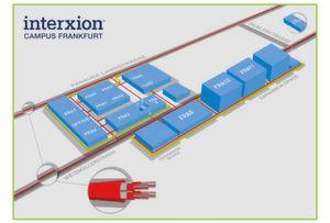 Der Interxion-Campus in Frankfurt mit den Ausbauflächen - zu erkennen ist auch das Umspannwerk in der Weismüllerstraße.