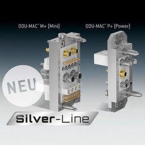 Die beiden neuen Andockrahmen M+ und P+ der ODU-MAC Silver-Line bieten die Möglichkeit, die PE-Übertragung optional über den Rahmen auszuführen.