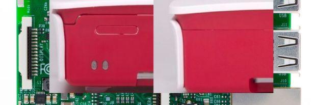 Gehäuse-Fake bei Raspberry Pi 3: Links die chinesische Fälschung mit wesentlich mehr Aussparungen als beim Original (rechts)