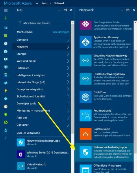 Netzwerksicherheitsgruppen werden im Webportal von Microsoft Azure verwaltet. Dazu steht ein eigener Bereich über den Menüpunkt
