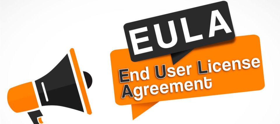 Die EULA, also End User License Agreement, ist die bekannteste Form dem Nutzungsrecht-Übertragung.