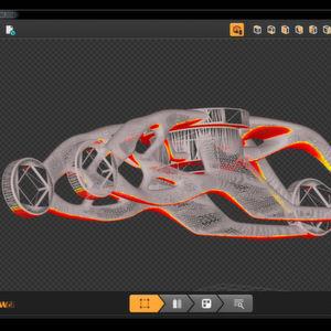 Ein durch Dassault Systèmes optimierter Türangel aus einem Konzept-Fahrzeug – zusehen in Renishaws Software zur Bauvorbereitung Quant-AM.