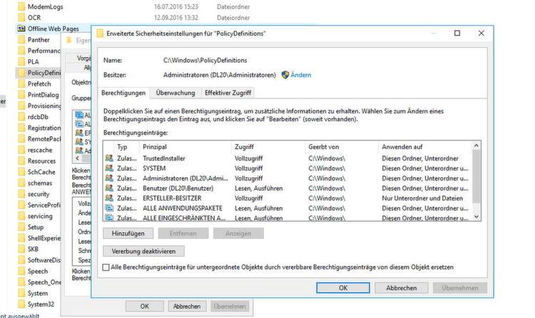 """Damit die neuen ADMX-Dateien in das Verzeichnis """"C:\Windows\PolicyDefinitions"""" auf den Domänencontrollern und dem Server, auf dem"""