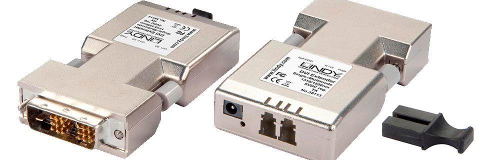 Mit dem DVI-Extender lässt sich Lindy zufolge ein digitales DVI-D-Single-Link-Signal mit WUXGA-Auflösung in voller Bandbreite ohne Komprimierung übertragen.