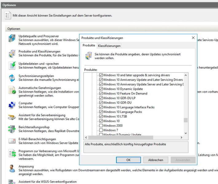 In der WSUS-Konsole stehen verschiedene Produktbereiche für den Download von Windows 10-Updates zur Verfügung.