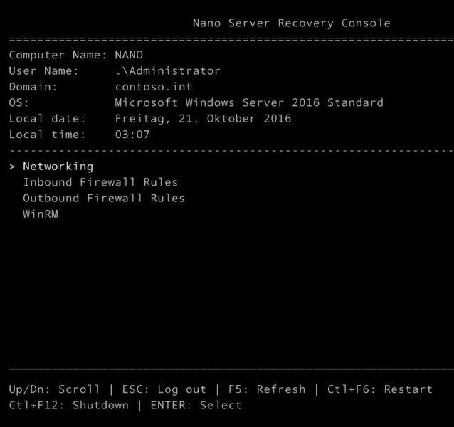 Mit der Nano Server Recovery Console lassen sich die lokalen Einstellungen von Nano-Servern verwalten und Informationen