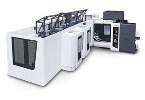 In Pfronten demonstriert DMG Mori seine Automatisierungskompetenz am Beispiel eines flexibel automatisierten Fertigungssystems mit den beiden Horizontal-Bearbeitungszentren NHX 5000 und DMC 60 H linear sowie Linear-Palettenspeichersystem LPP 24.