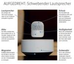 Der kabellose Lautsprecher von LG schwebt stationär über der Leviathan Station. Das System sieht nicht nur gut aus, sondern sorgt auch für einen hervorragenden Klang. Der Lautsprecher bietet die Möglichkeit, im Haus genauso wie im Freien jederzeit Musik und andere Audio-Inhalte abzuspielen. Der Schwebeeffekt des PJ9 wird mit kräftigen Elektromagneten innerhalb der Leviathan Station erzielt. Der Lautsprecher wird somit von keinerlei Fläche oder Kabel berührt. // ED