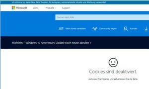 Keine Webseiten-Inhalte bei blockierten Cookies.