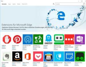Verfügbare Erweiterungen für den EDGE-Browser.