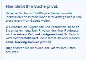 Info zur Anonymen Suchmaschine Startpage.com.