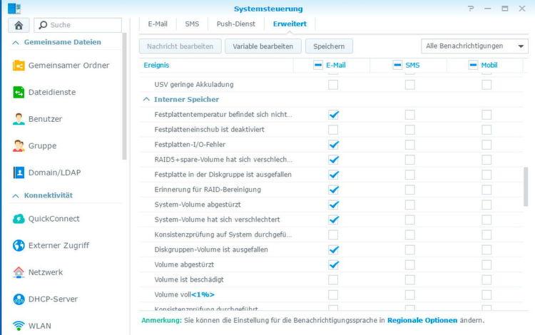 In den Einstellungen der Benachrichtigungen lässt sich genau festlegen, wann das NAS-System E-Mails versenden soll.